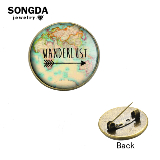 US $0 76 45% OFF|SONGDA 2018 World Map Arrow Bar Wanderlust Brooch Button  Pins Personalized Photo Glass Dome Hat Coat Pin Badge Earth Day Jewelry-in