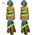 BRW African Long Print Skirt Maxi Dress Suit Half Sleeve Crops Tops Splice Dress Bazin African Clothing for Women WY1417