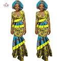 BRW Africano Falda Larga De Impresión Maxi Vestido de Traje Media Manga Cultivos Tops Splice Vestido Ropa Bazin Africano para Las Mujeres WY1417