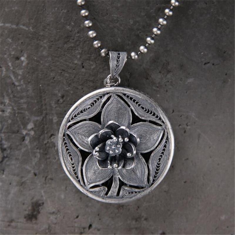 Mode ethnique Tribal Vintage 990 bijoux en argent Sterling sculpté fleur Boho 33.50mm grand collier pendentif femelle 14.70G