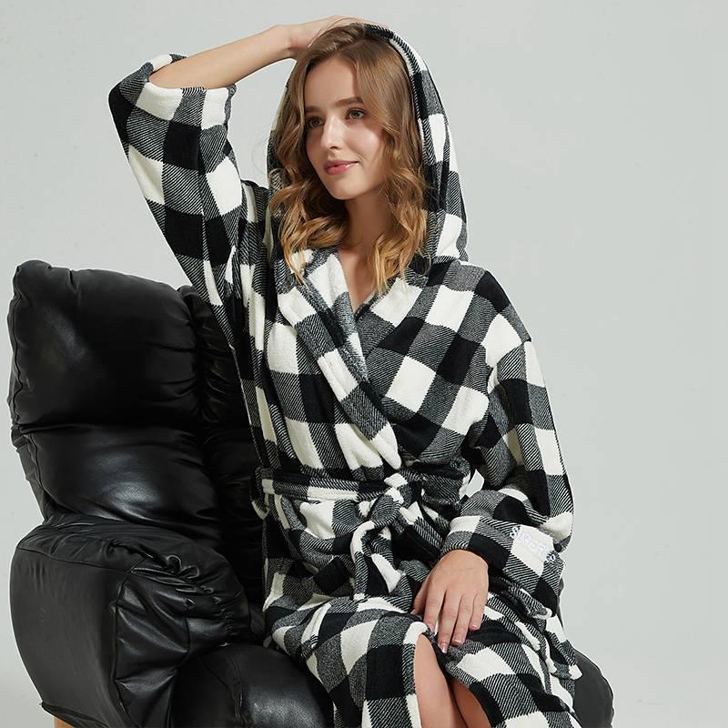 Women Bathrobe Winter Thick Warm Coral Fleece Kimono Bathrobe Gown Robe Dress Lovers Nightwear Pijama Sleepwear Black and White