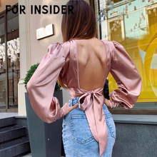 For Insider Pink satin silk long sleeve blouse shirts Turtleneck backless bow tie sexy crop top Elegant womens tops and blouses