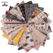 QUANFANG 20pcs/lot Cotton Linen Fabric For Patchwork Handmade Diy Hometextile Cloth Doll Bags Cushion Random Color 10cmx10cm(China)