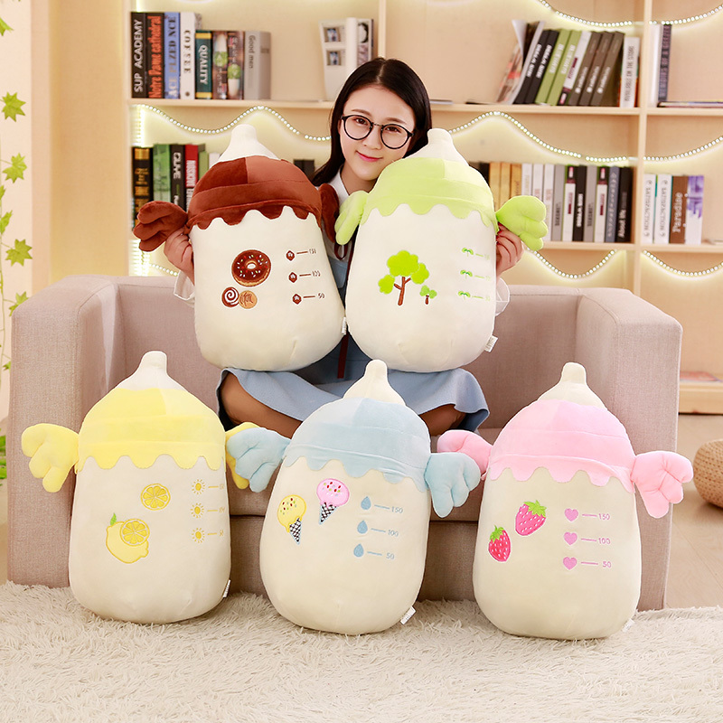 48 Cm 2 In 1 Plush Feeding Bottle Pillow Soft Air Conditioner Blanket Creative Toys For Children Home Decoration