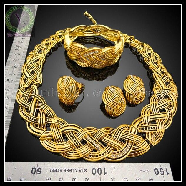 new designs 18k gold plated ruby zircon dubai gold jewelry set