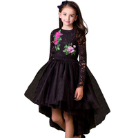 Autumn/winter 2017 Girls Princess Dress Black Lace Dress Embroidered Flowers Dovetail Dresses Fashion Christmas Party Dresses
