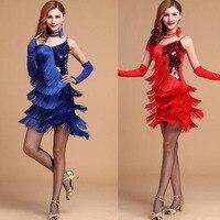 Free Shipping Femal Latin dance costume mesh sequined tassel latin dancewear dress for women latin Salsa Ballroomdance dresses