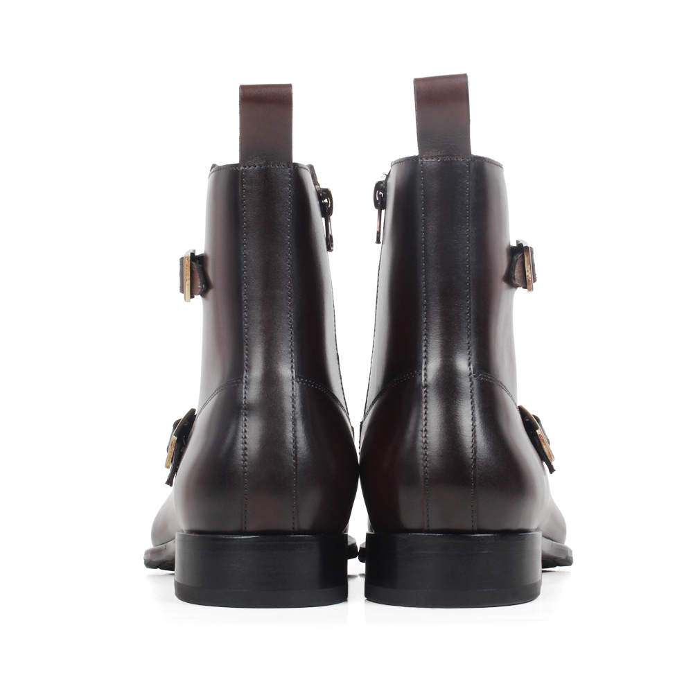 VIKEDUO Square Toe Plain Genuine Cow Skin Boot Patina Brown Handmade Bespoke Leather Men Boots Casual Men 39 s Buckle Ankle Boots in Work amp Safety Boots from Shoes