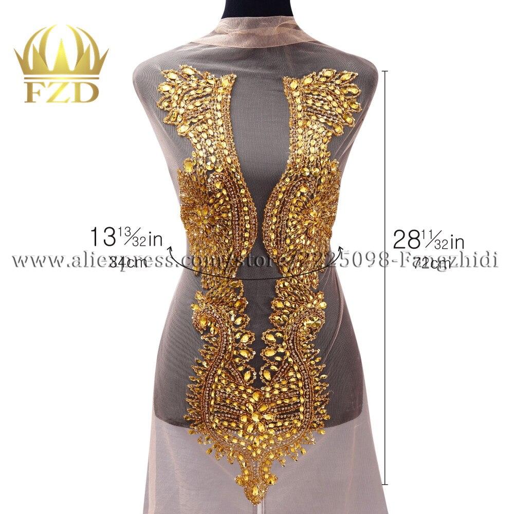 FZD 5 pièces perles or à la main strass patchs pour paillettes pierre robe de mariée Motif robe de mariée bricolage