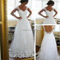 Hot Sale Cap Sleeve Sheer Back Wedding Dress Lace Bridal Gown A-line Dresses to Wear to a Wedding
