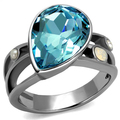 New stainless steel Wedding rings Fashion Jewelry Sea Blue Stone Women Ring US size 6, 7,8,9,10