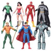 DC Comics Superheroes Toys 7pcs/set Superman Batman Wonder Woman The Flash Green Lantern Aquaman Cyborg PVC Figures toys for boy