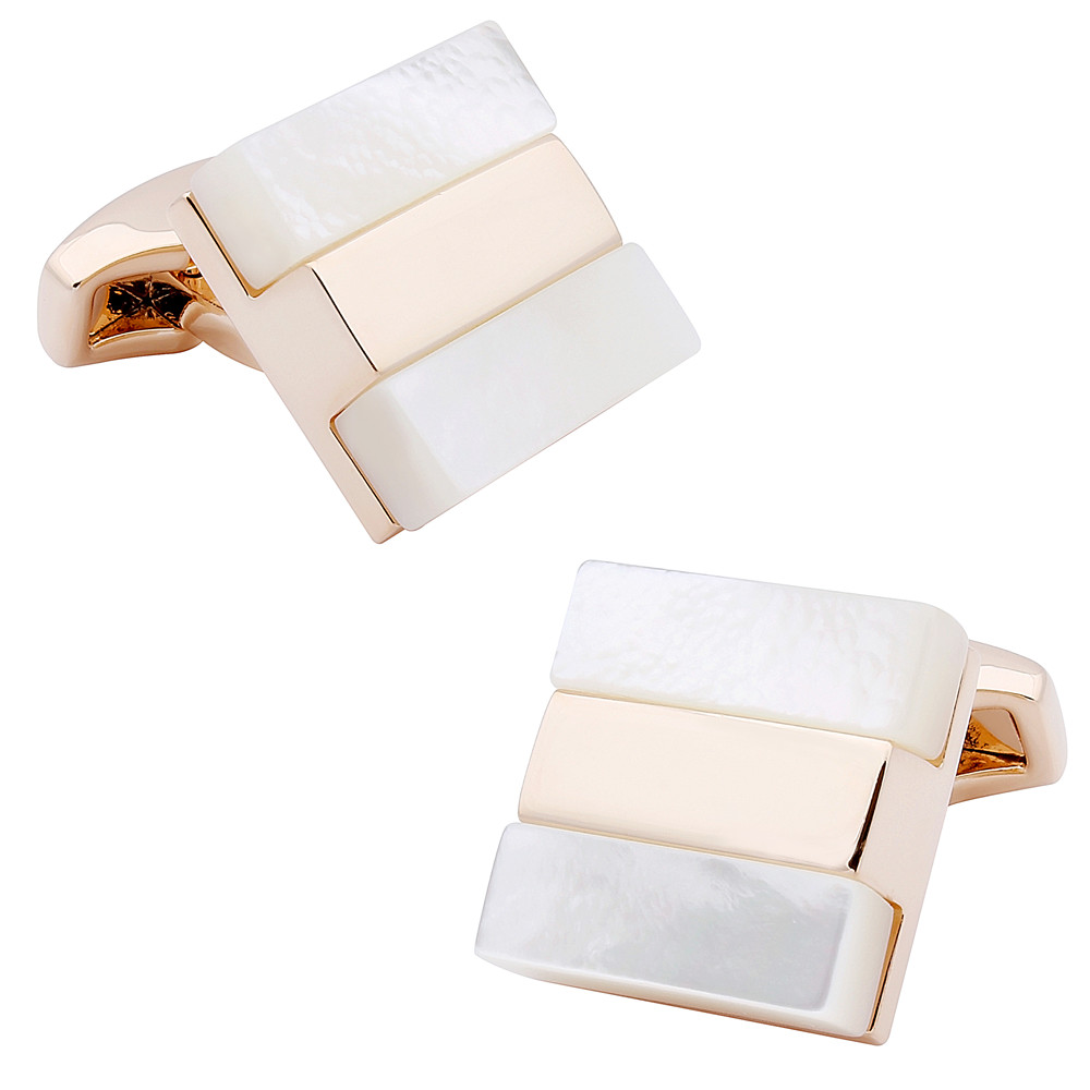 Men Jewelry Mother Of Pearl Cufflinks Simple Stone Cufflinks For Men Shirt High Quality Nature Stone Rose Gold Cuff Links
