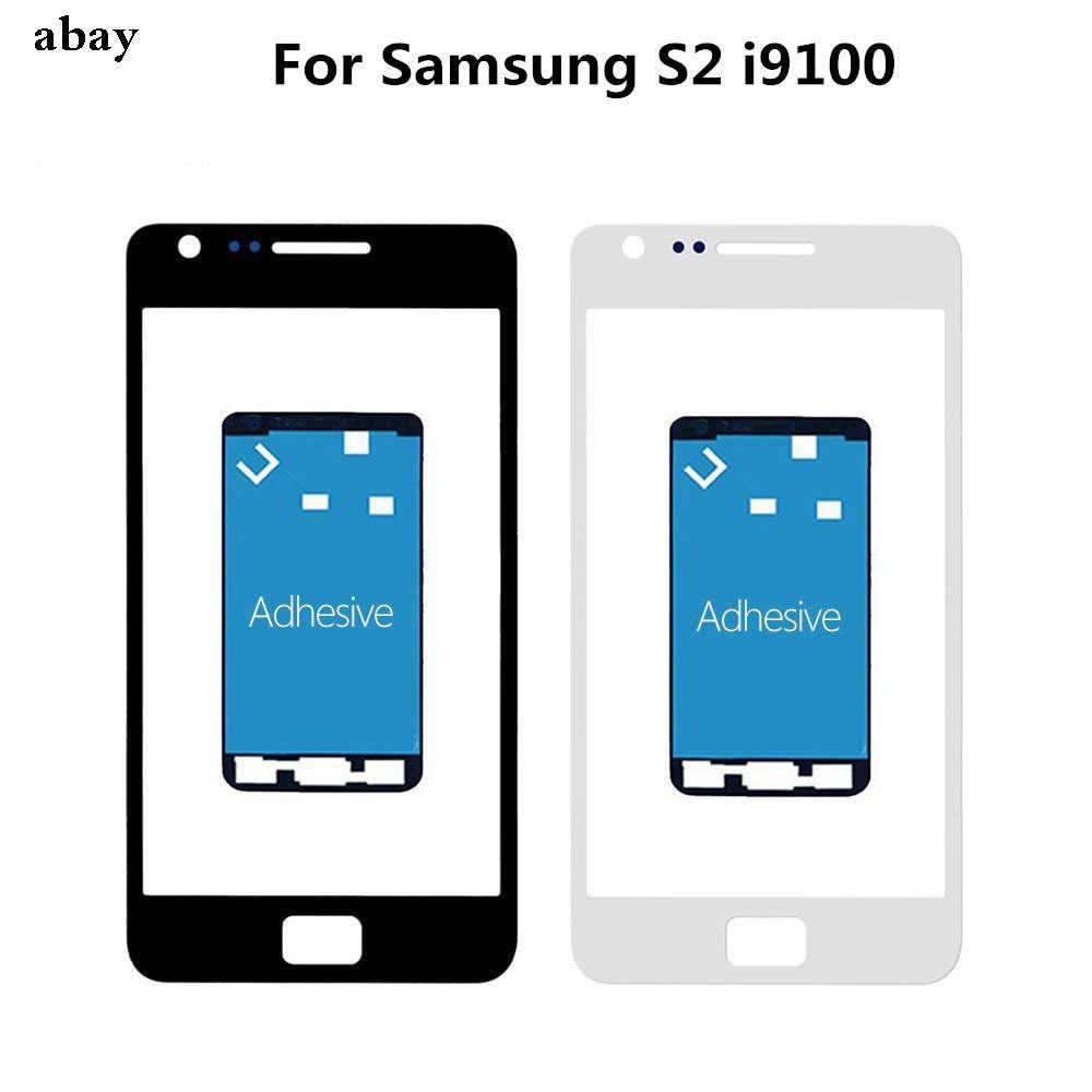 עבור סמסונג גלקסי S2 I9100 חיצוני זכוכית + Adehesive מול מסך מגע קדמי זכוכית פנל Digitizer חיישן טלפון החלפת חלקים
