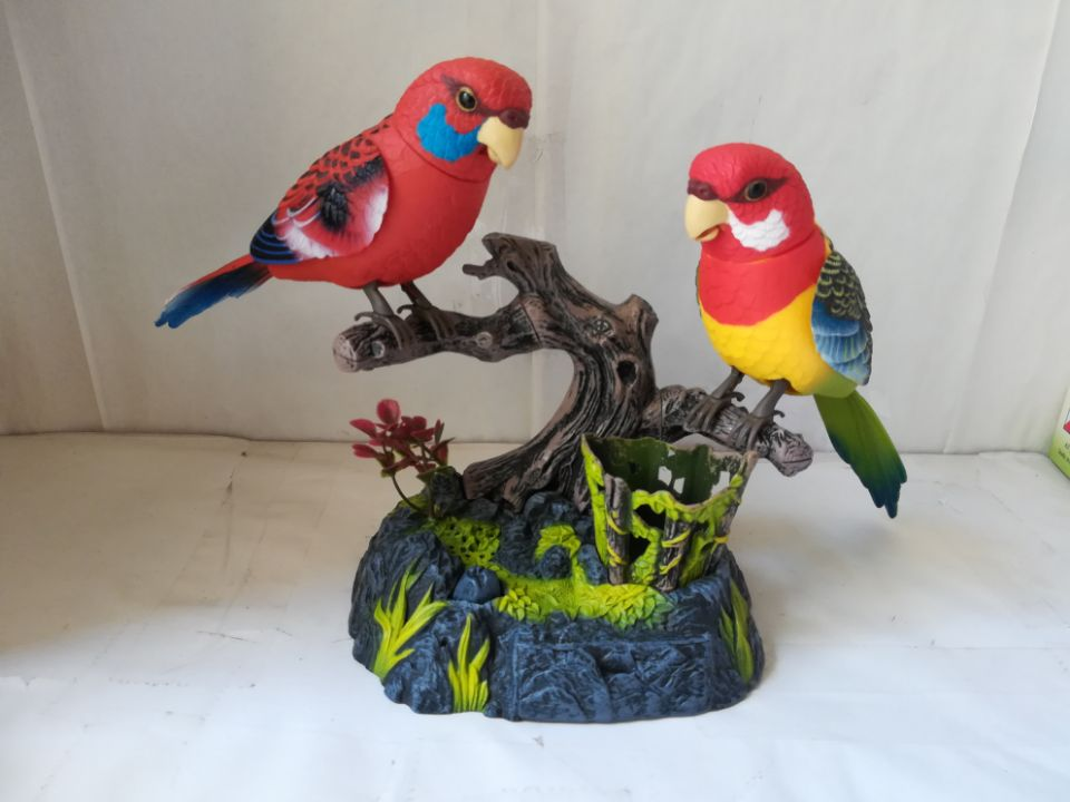 Beautiful Loves Birds Electric Toy Voice Control Couples Birds 15x13x13cm Toy  Birthday Gift W6979