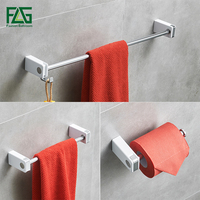 FLG 3 pcs/set Stainless Steel Bathroom Hardware Set with White ABS Bath Single Towel Bar Paper Holder Bathroom Accessories