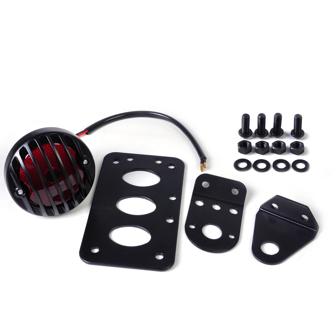 beler New Ribbed Round Tail Brake Light License Plate Bracket with Screw Accessory Set fit for Motorcycle Harley Bobber Chopper