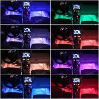 led music 4pcs Car RGB LED Strip USB Port Interior Light Multicolor Music Atmosphere Sound Active Function LED Strip LED Lighting (5)