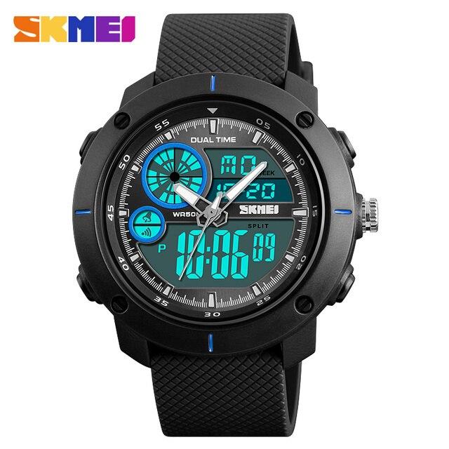 b2a3aee875a SKMEI Esportes Relógios Homens Do Exército Militar Dual Display Digital  Relógio de Quartzo Homens Relógio de