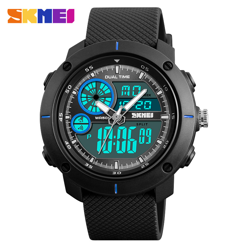 SKMEI Military Army Sports Watches Men Dual Display Digital Quartz Watch Outdoor Waterproof Men Wrist Watch Relogio Masculino skmei men quartz digital dual display sports watches new clock men outdoor military watch fashion student waterproof wristwatch