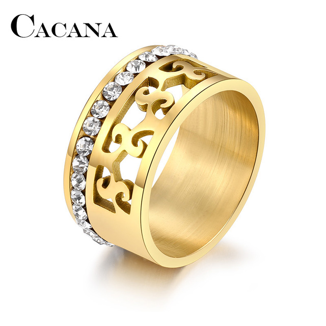 CACANA Titanium Stainless Steel Rings For Women Hollow Full Circle Of Zircon Eng