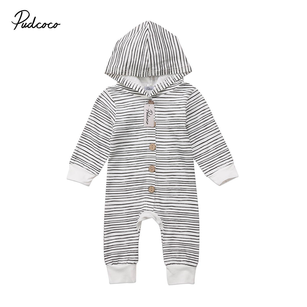 2017 New Year Baby Boy Girl Warm Infant Hooded Long Sleeve Striped Romper Jumpsuit Hooded Clothes Outfit