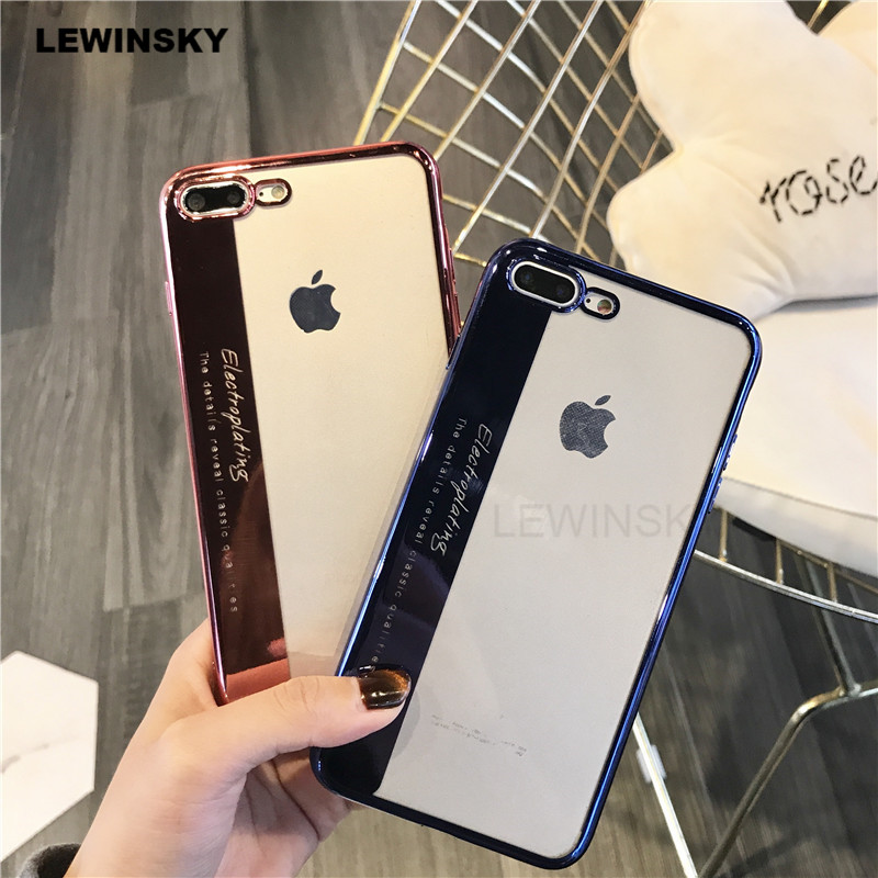 Luxury Soft Silicone Plating Clear Case For iphone 7 8 Plus Back Cover Case For iphone 6 s X Ultra Slim Phone Cases v5