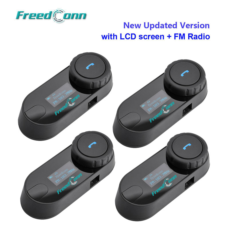 4 X FreedConn T-COMSC W/Screen Bluetooth Motorcycle Motorbike Helmet Intercom Headset With FM Radio Free Shipping!!