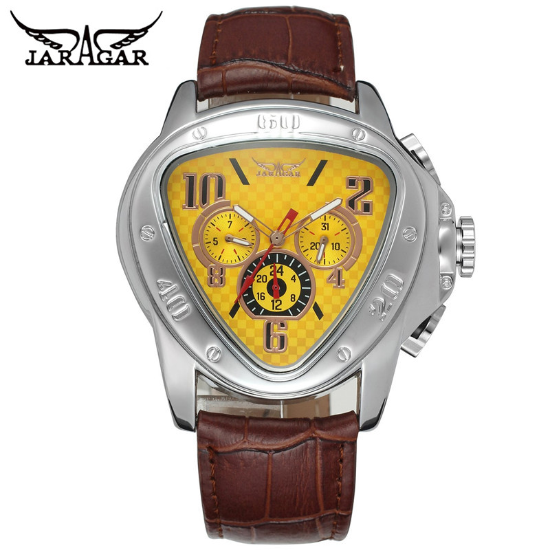 JARAGAR Fashion Trangle Mechanical font b Watch b font Men Sport Week Day 20Hr Wristwatch Leather
