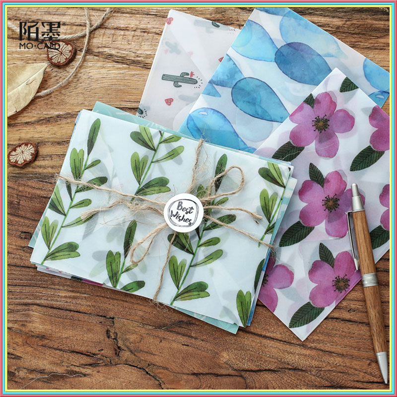3 pcs Colorful Flower Pattern Transparent Litmus Paper Envelope Gift in Party Wedding Korean Stationery with stickers 03243 exquisite colorful flowers and girl pattern removeable wall stickers