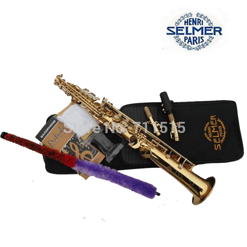 Henry Selmer Saxophone Reference 54 B the Straight Sax Pipe Gold Plated Soprano Saxophone Music Instrument Professional Bb Sax gunsafe bs95 l43