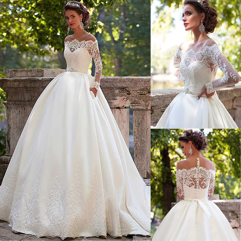 Vestido De Noiva Boat Neck Vintage Appliques Princess Ball Gown Ivory Wedding Party Dress Robe De Mariage