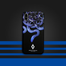Marcelo Burlon MB cases for iphone 6 6plus 6s plus 7 7plus 8 X hard PC luxury plastic phone cover Fashion Tide Blue snake case(China)