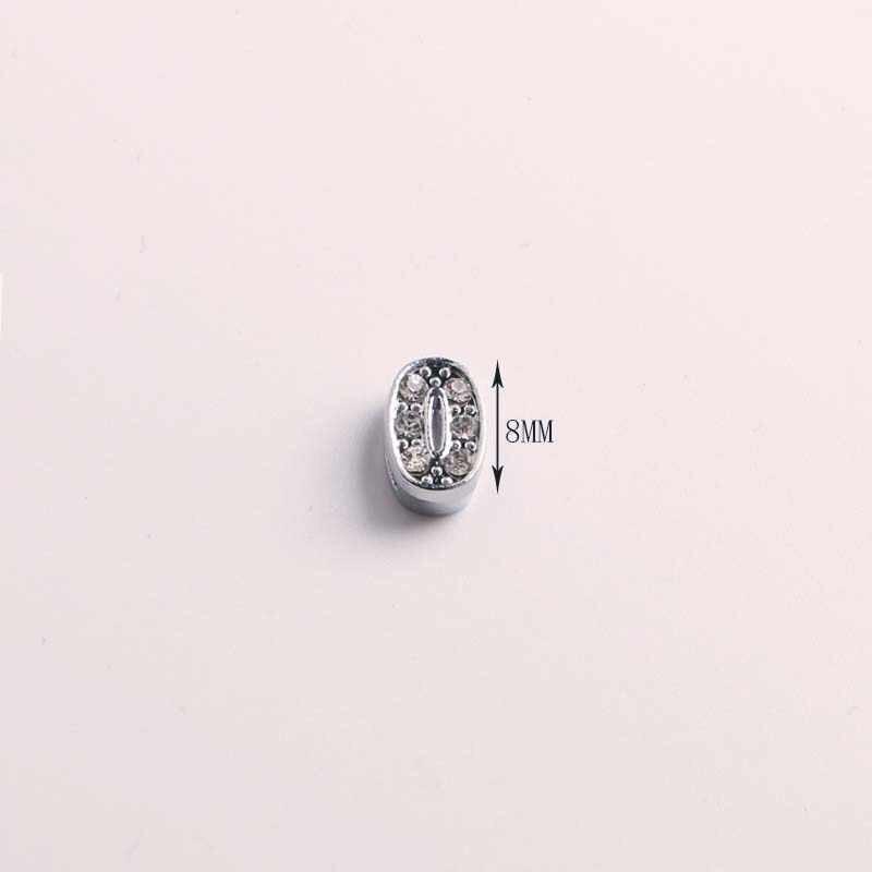 0-9 フルラインストーンペンダントスライド番号 Diy ギフトチャーム革名リストバンドブレスレットベルトネックレスジュエリー