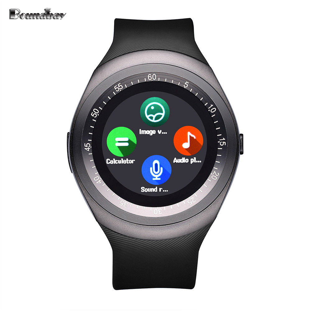 BOUNABAY barometer Pedometer Bluetooth 4.0 Smart man watch for apple android phone waterproof Camera Clock Touch Screen Clocks