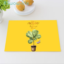 Kitchen Flower And Bird Table Pad Cotton Linen Art Insulation Anti-scalding Oil-proof Tableware Mat Placemat For Dining