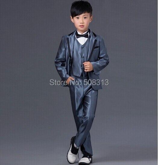 59a0d2fd0 € 58.58  2016 Otoño Muchachos Esmoquin Trajes Formales Vestido de Fiesta  para Niños Niño 6 unids/set capa, chaleco, pantalones, camisa, corbata y ...