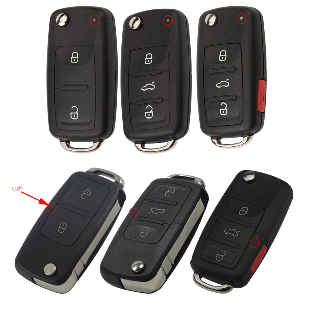 Flip Remote Car Key Shell Case Fob For VW Golf 4 5 6 7 Passat B5 B6 Tiguan Beetle Polo MK4 MK6 Bora For Skoda Ibiza 2/3/4 Button(China)