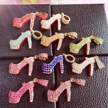 6 шт./партия, минимальный$15(смешанный заказ), 2,6 см* 2 см, 3D, много цветов, обувь на каблуках со стразами, подвески своими руками сборный Декор