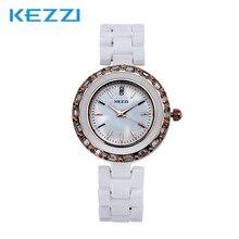 Envío de La Venta Caliente KEZZI K834 Del Análogo de Cuarzo del Reloj de Las Mujeres Vestido de Diamantes de La Moda De Cerámica Relojes de Pulsera Impermeable Clásico