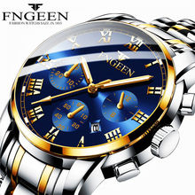 Luxury Gold Men Watch Good Quality Mens Quartz Clock Stainless Steel Watches 30m Waterproof Calendar Date (Small dial not work)