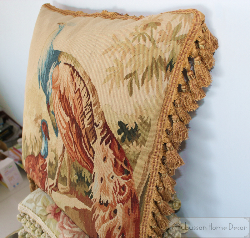 Awe Inspiring 20X20 Peacock Wool Hand Woven Aubusson Tapestry Pillow Inzonedesignstudio Interior Chair Design Inzonedesignstudiocom
