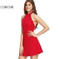 COLROVIE Seksowna Sukienka Klub Wear 2017 Lato Linia Mini Sukienka Panie Red Halter Neck Backless Muszelka Skater Dress