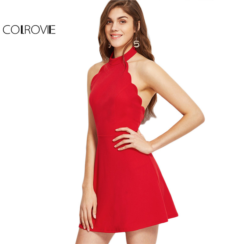 Colrovie sexy dress club wear 2017 verano una línea mini dress rojo de las señor