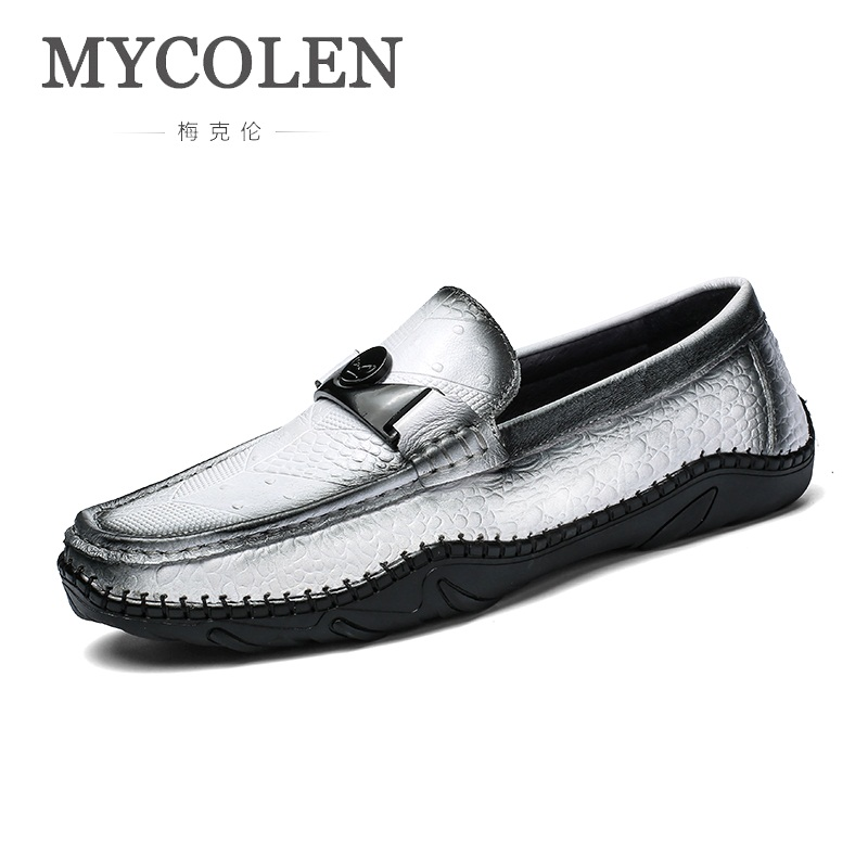 купить MYCOLEN 2018 Hot Sale Slip On Men Casual Peas Shoes Luxury Designers Male Flat Leather Loafers Fashion Soft Mans Footwear по цене 6204.12 рублей