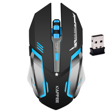 NAFFEE Built-in Rechargeable Battery Wireless 7 Color Breathing Lamp Mouse Mute Silent Gaming Mouse with Charging Cable for Game
