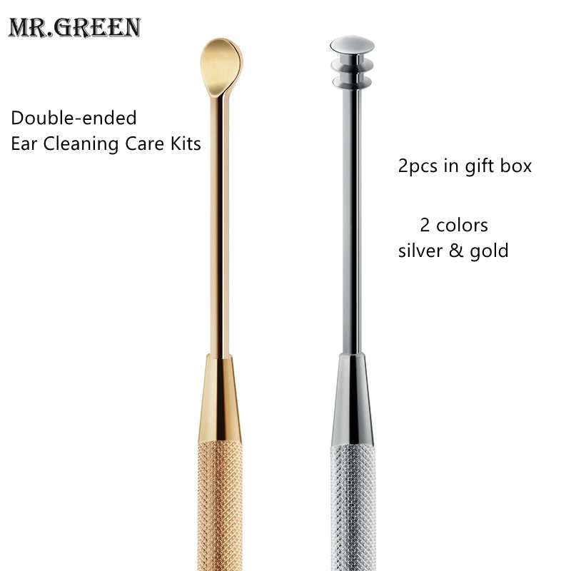 Mr.Green Stainless Steal Earpick Double-ended Ear Cleaning Care Kits 2pcs Multi Color  Spiral Earwax Removal Ear Spoon Gift Box