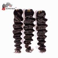Sunnymay Малайзии волосы распущены волна Человеческие волосы Связки 3 шт. натуральный Цвет Человеческие волосы ткань
