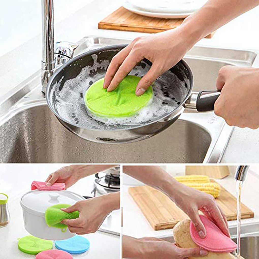 ซิลิโคนจาน/หม้อ/แผ่นป้องกันแบคทีเรีย Mildew ฟรีแปรงแปรงเครื่องมือทำความสะอาดในครัวเรือน