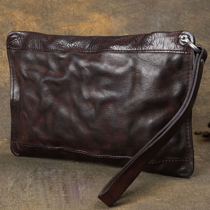 Genuine Leather Retro Men Wallets Wrinkle Hand Colored Large Clutch Bags Multifunction Zipper Purse Wallet Card Holder Wristlets-in Wallets from Luggage & Bags    3